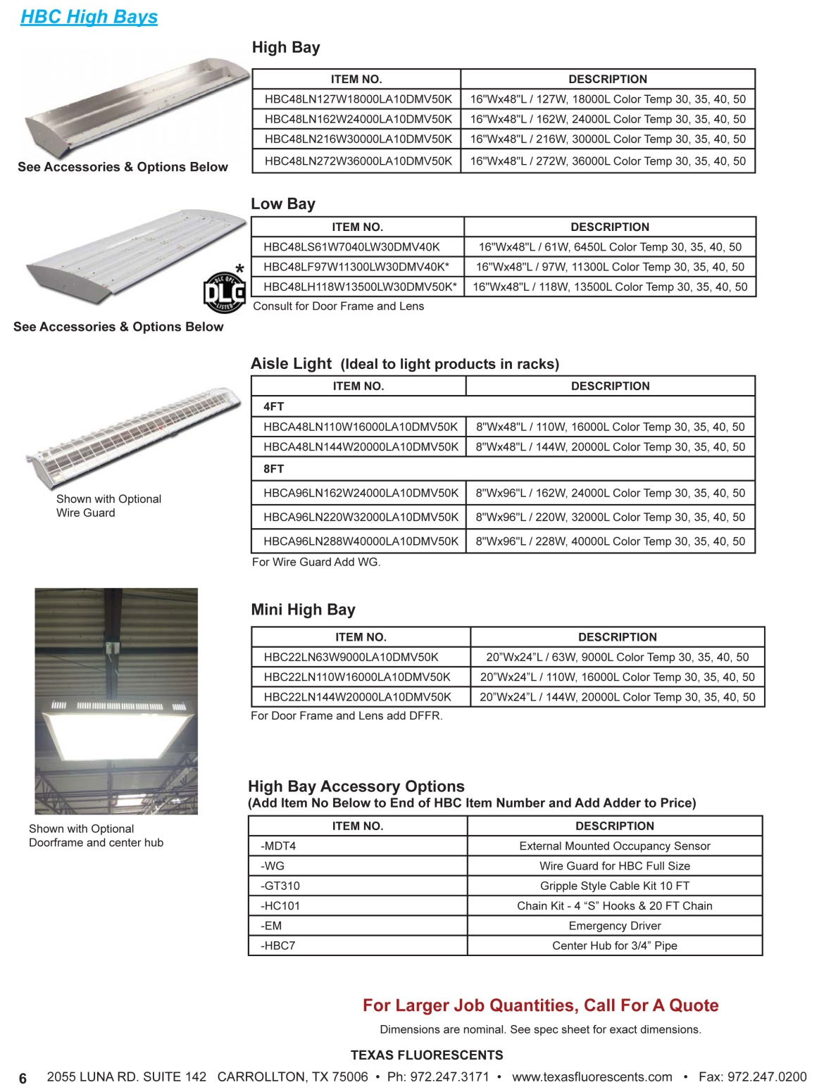 TXFL PRACTICAL LED UP 6 Manufacturer Representatives
